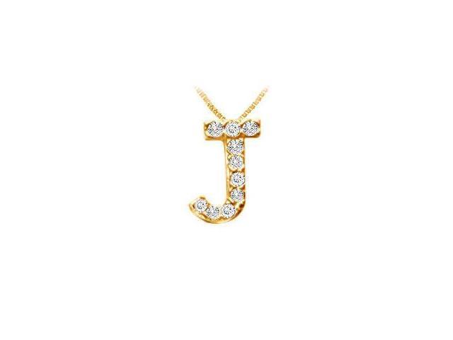 Classic J Initial Diamond Pendant  14K Yellow Gold - 0.10 CT Diamonds