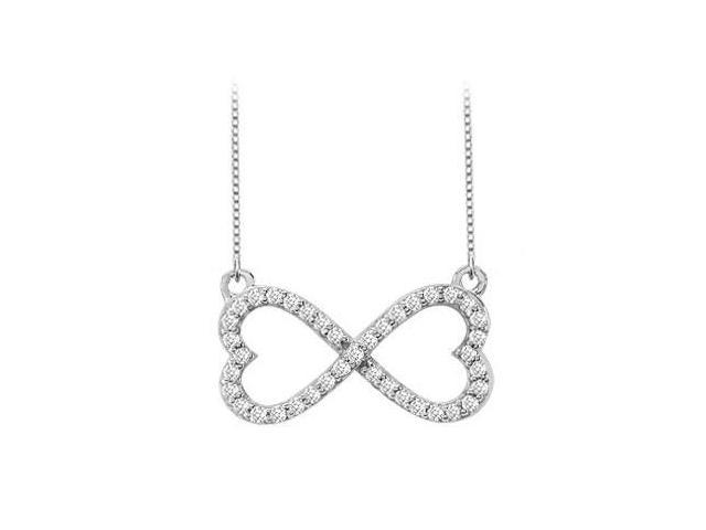 Heart CZ Infinity Pendant Necklace in Rhodium Plating .925 Sterling Silver 0.50 Carat Total CZ