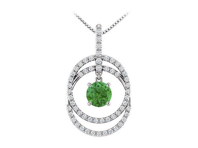 May Birthstone Emerald and CZ Double Row Circle Pendant 14K White Gold 1.75 CT TGW
