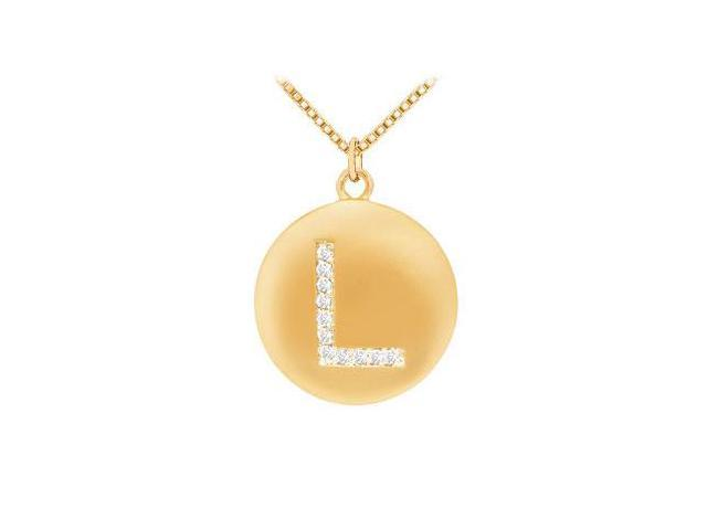 Diamond Initial L Disc Pendant  14K Yellow Gold - 0.16 CT Diamonds