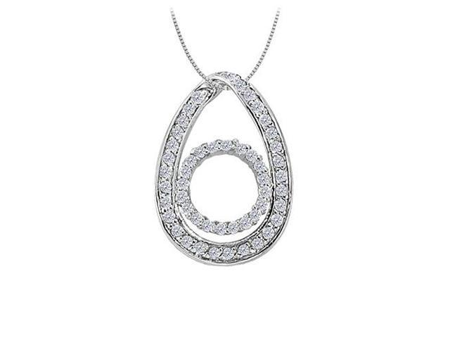 Cubic Zirconia Tear Drop Pendant in 14K White Gold 0.50 CT TGWPerfect Jewelry Gift for Women
