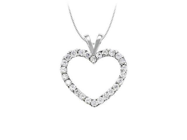 April birthstone Cubic Zirconia Heart Pendant in Sterling Silver 0.50 CT TGW