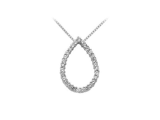 Drop Diamond Pendant  14K White Gold - 0.50 CT Diamonds