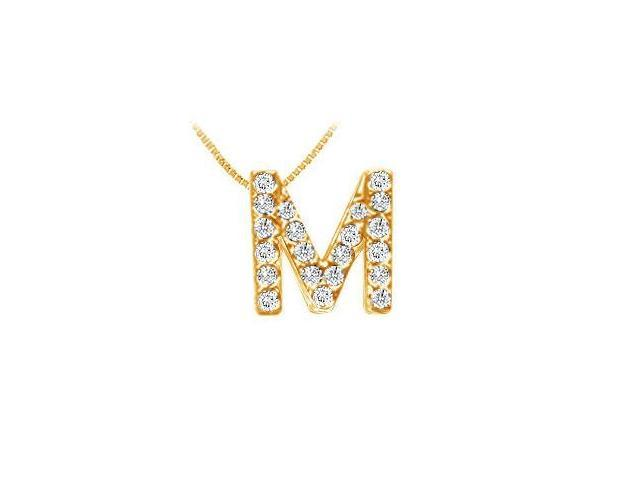 Classic M Initial Diamond Pendant  14K Yellow Gold - 0.25 CT Diamonds