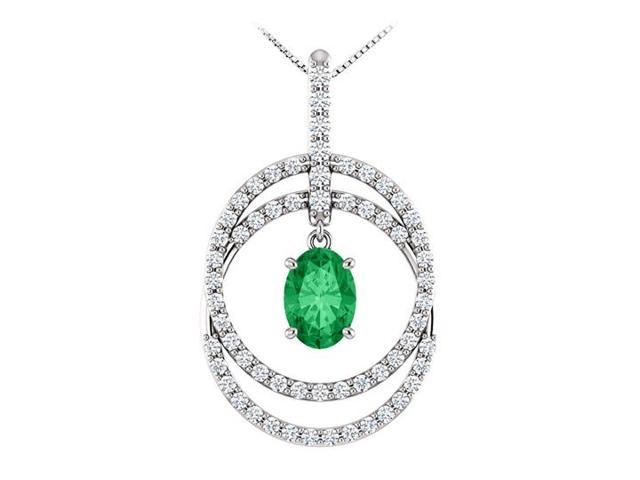 May Birthstone Oval Emerald and CZ Double Row Circle Pendant 14K White Gold 1.75 CT TGW
