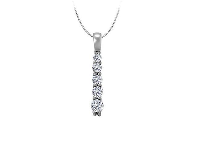 Cubic Zirconia Five Stone Straight Line Pendant in 14K White Gold 0.50 CT TGWJewelry Gift