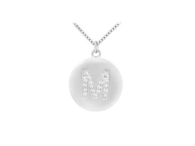 Diamond Initial M Disc Pendant  14K White Gold - 0.33 CT Diamonds