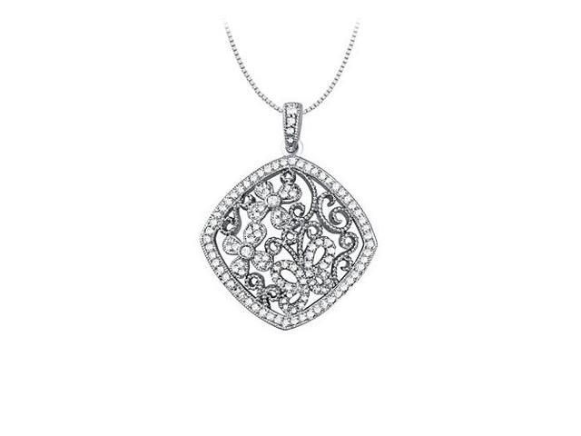 0.75 Carat Total Diamonds in 14K White Gold Floral Square Fashion Pendant