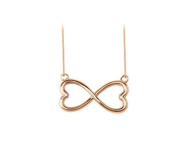 Rose Gold Vermeil 925 Sterling Silver Heart Infinity Pendant Necklace