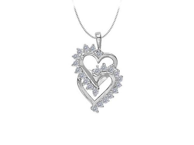 April birthstone Double Heart Cubic Zirconia  Pendant in Sterling Silver 0.50 CT TGW