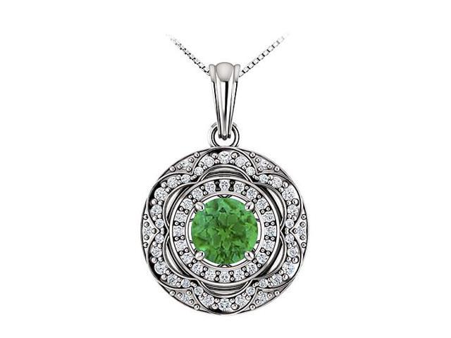 May Birthstone Emerald and CZ Halo Pendant in 14K White Gold 1.50 CT TGW