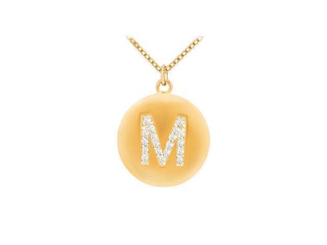 Diamond Initial M Disc Pendant  14K yellow Gold - 0.33 CT Diamonds