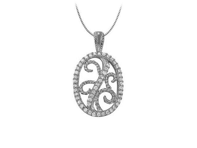Diamond Oval shaped Pendant in 14K White Gold 0.25 CT TDWJewelry Gift for Women