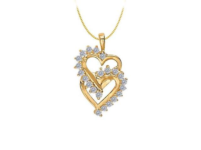 April birthstone Double Heart CZ  Pendant Sterling Silver with Yellow Gold Vermeil 0.50 CT TGW