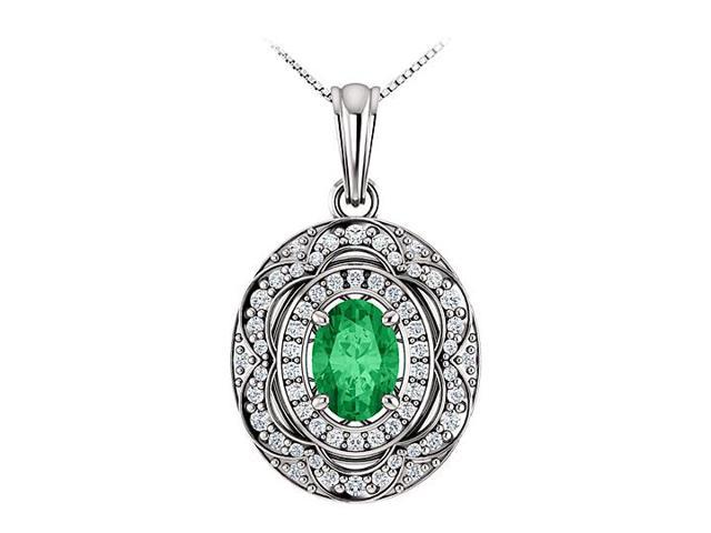 May Birthstone Oval Emerald and CZ Halo Pendant in 14K White Gold 1.50 CT TGW