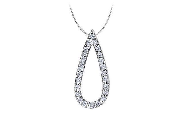 Diamond Tear Drop Pendant in 14K White Gold 0.25 CT TDW with White Gold ChainJewelry Gift