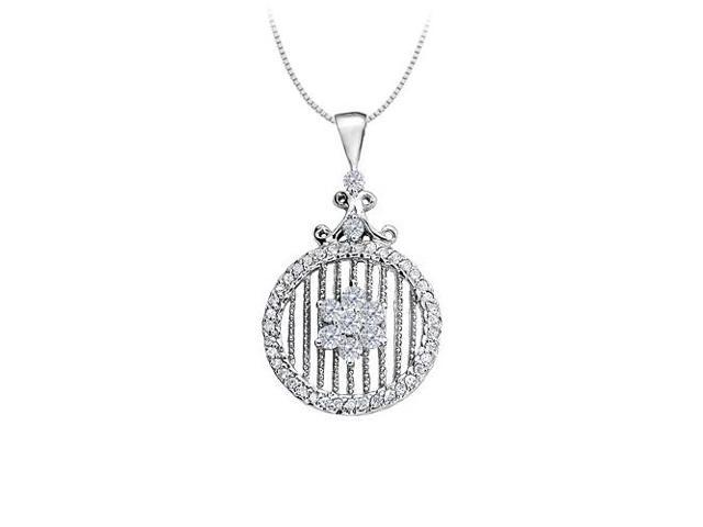 Cubic Zirconia Circle Fancy Fashion Pendant in 14K White Gold 0.75 CT TGW with White Gold Chain