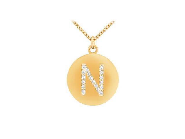 Diamond Initial N Disc Pendant  14K yellow Gold - 0.25 CT Diamonds