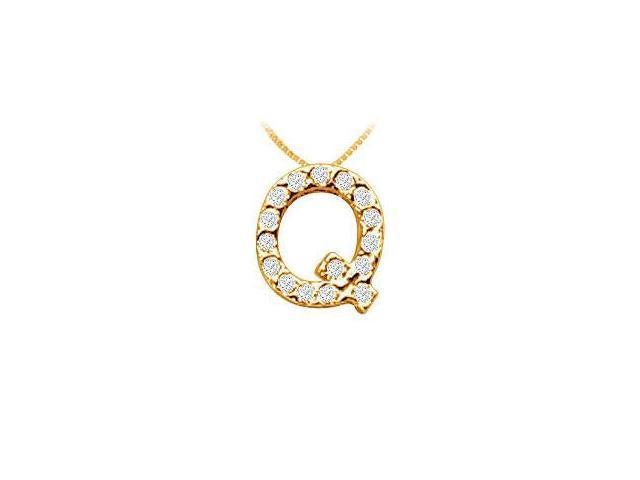 Classic Q Initial Diamond Pendant  14K Yellow Gold - 0.15 CT Diamonds