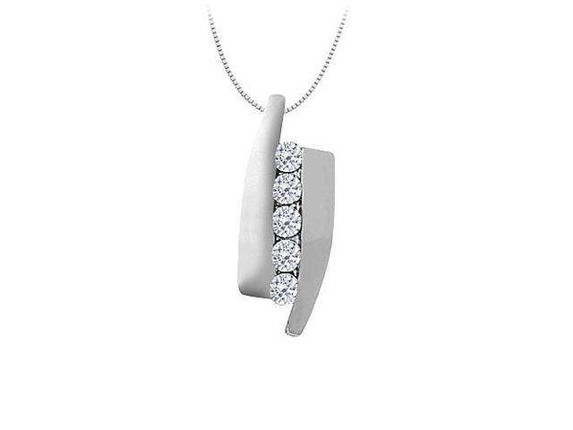 Cubic Zirconia Channel Set Straight Line Pendant in 14K White Gold 0.50 CT TGWJewelry Gift