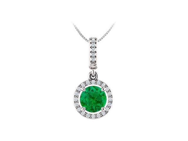 May Birthstone Emerald and CZ Halo Gemstone Pendant 14K White Gold 1.25 CT TGW with 14K Chain