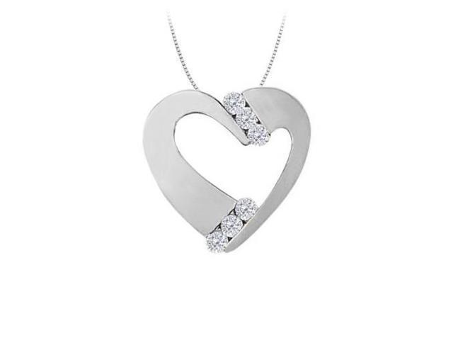 April birthstone Channel Set Cubic Zirconia Heart Pendant in Sterling Silver 0.50 CT TGW
