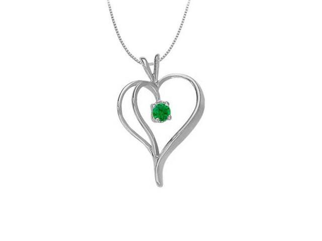 May Birthstone Emerald Heart Pendant in 14kt White Gold  0.33 CT TGW