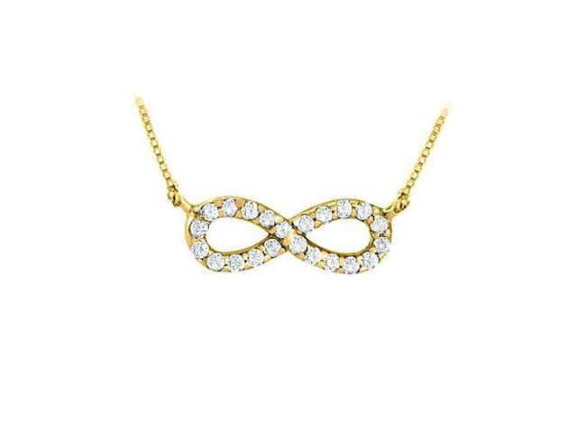 Tiffany Inspired Infinity Pendant with April Birthstone Diamond in 14K Yellow Gold 0.10 CT TDW
