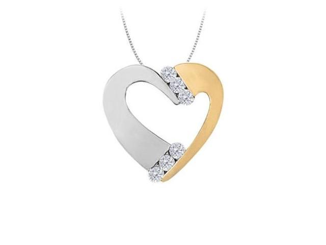 April birthstone Two Tone CZ Heart Pendant Sterling Silver with Yellow Gold Vermeil 0.50 CT TGW