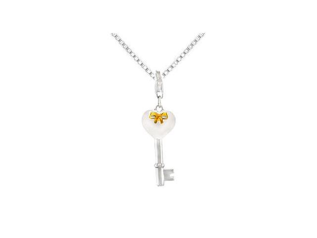 Sterling Silver with Yellow Plated Bow Key  Heart Charm Pendant - 24.30 X 10.86 MM