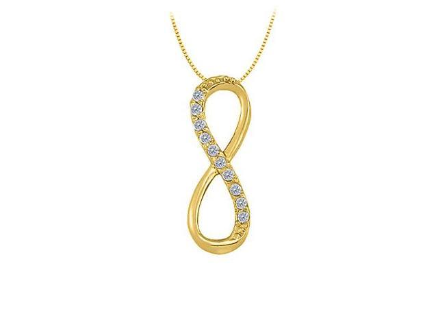 Tiffany Inspired Vertical Infinity Pendant with Diamond in 14K Yellow Gold 0.15 CT TDW