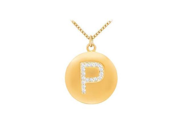 Diamond Initial P Disc Pendant  14K Yellow Gold - 0.25 CT Diamonds