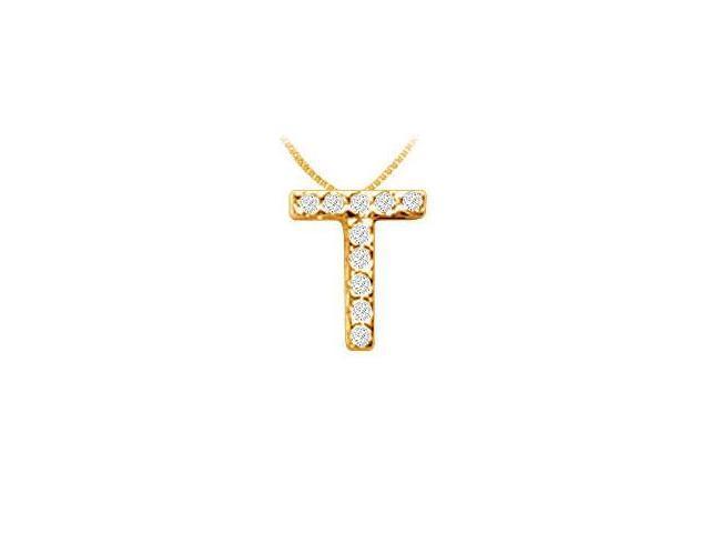 Classic T Initial Diamond Pendant  14K Yellow Gold - 0.10 CT Diamonds