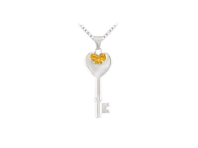 Sterling Silver Key  Heart Design with Yellow Plated Bow Pendant - 25.50 X 10.00 MM