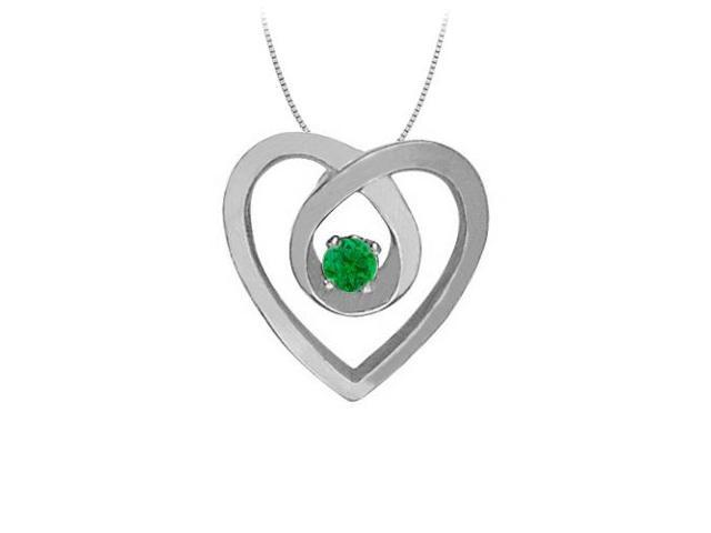 May Birthstone Emerald Heart Pendant Necklace in 14kt White Gold 0.10 CT TGW