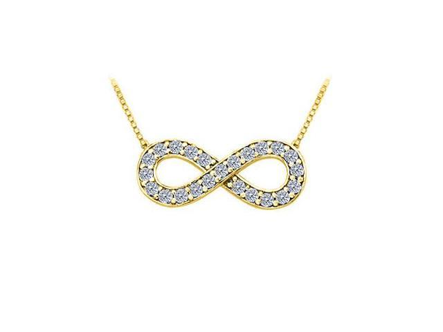 Tiffany Inspired Infinity Pendant with April Birthstone Diamond in 14K Yellow Gold 0.25 CT TDW