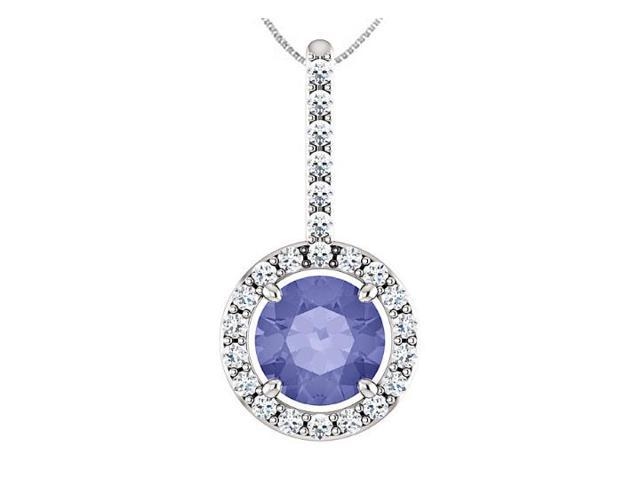 CZ Drop Pendant with Created Tanzanite Halo Style in 925 Sterling Silver 1.25 Carat TGW