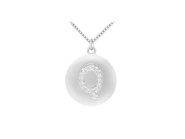 Diamond Initial Q Disc Pendant  14K White Gold - 0.35 CT Diamonds