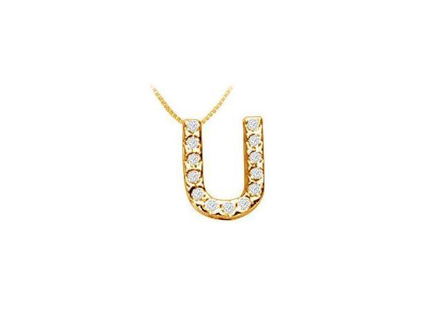 Classic U Initial Diamond Pendant  14K Yellow Gold - 0.15 CT Diamonds