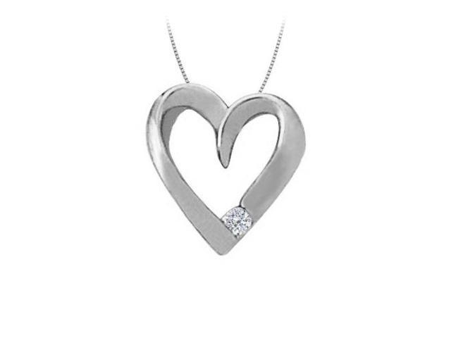 April birthstone Channel Set Cubic Zirconia Heart Pendant in Sterling Silver 0.03 CT TGW