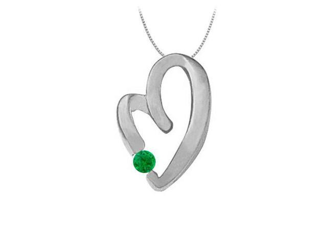 May Birthstone Emerald Heart Pendant Necklace in 14kt White Gold  0.15 CT TGW.