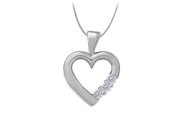 April birthstone Cubic Zirconia Heart Pendant in Sterling Silver 0.06 CT TGW