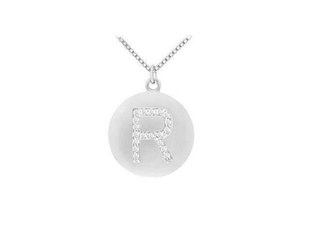 Diamond Initial R Disc Pendant  14K White Gold - 0.33 CT Diamonds