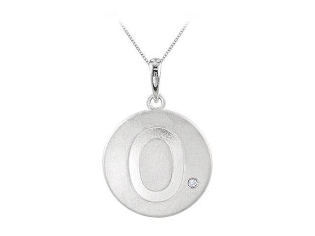 Disc Pendant in Rhodium Plating 925 Sterling Silver Engrave Number 0 with Single Cubic Zirconia