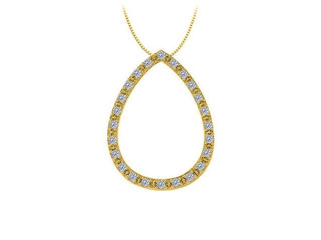 0.25 Carat Teardrop Pendant with Gemstone Diamonds in 14K Yellow Gold with Yellow Gold Chain