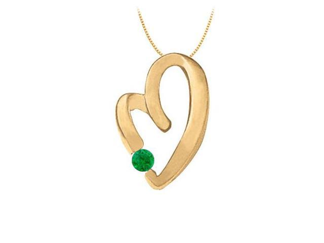 May Birthstone Emerald Heart Pendant in 14kt Yellow Gold  0.15 CT TGW