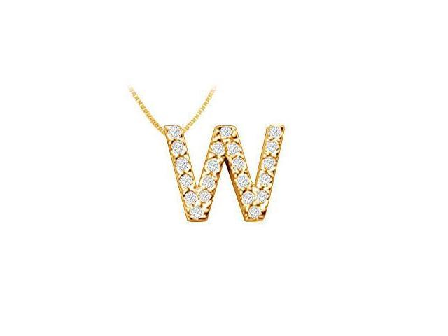Classic W Initial Diamond Pendant  14K Yellow Gold - 0.25 CT Diamonds