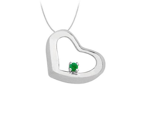 May Birthstone Emerald Heart Pendant in 14kt White Gold  0.15 CT TGW