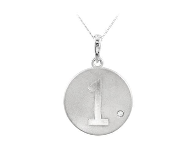 925 Sterling Silver Numeric 1 Disc Pendant with Single Triple AAA Quality CZ of 0.005 Carat
