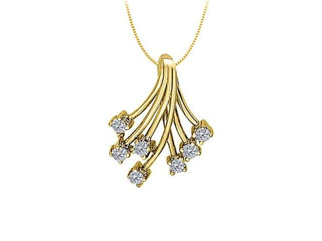 Diamond Fashion Shower Pendant in 14K Yellow Gold 0.35 CT TDW with Yellow Gold Chain